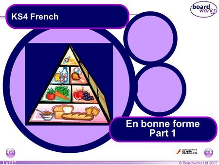 © Boardworks Ltd 2005 1 of 17 KS4 French En bonne forme Part 1.