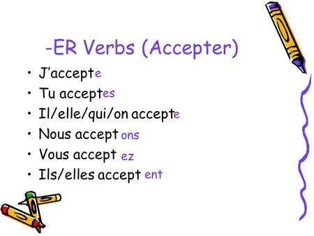 -ER Verbs (Accepter) J'accept Tu accept Il/elle/qui/on accept