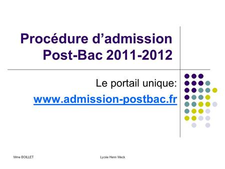 Procédure d'admission Post-Bac