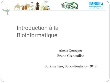 Introduction à la Bioinformatique Alexis Dereeper Bruno Granouillac Burkina Faso, Bobo-dioulasso - 2012.