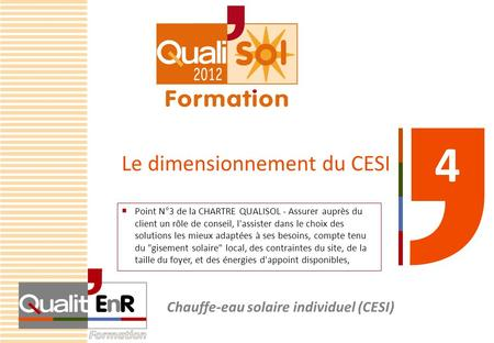 Le dimensionnement du CESI