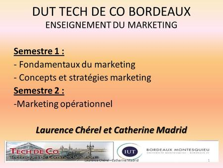 DUT TECH DE CO BORDEAUX ENSEIGNEMENT DU MARKETING Semestre 1 : - Fondamentaux du marketing - Concepts et stratégies marketing Semestre 2 : -Marketing opérationnel.