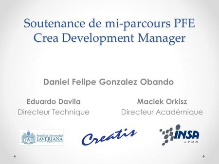 Soutenance de mi-parcours PFE Crea Development Manager