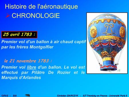 Histoire de l'aéronautique CIFAG - BIA Christian ZIARCZYK - IUT Tremblay en France - Université Paris 8 25 avril 1783 : Premier vol d'un ballon à air.