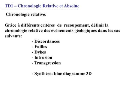 TD1 – Chronologie Relative et Absolue
