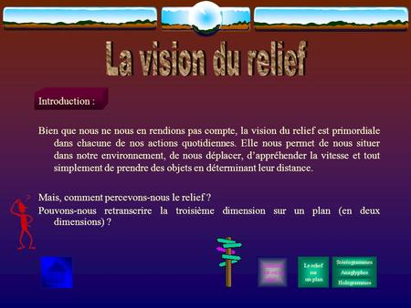 La vision du relief Introduction :