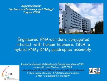 Engineered PNA-acridone conjugates interact with human telomeric DNA: a hybrid PNA 1 -DNA 1 quadruplex assembly. Supramolecular Systems in Chemistry and.