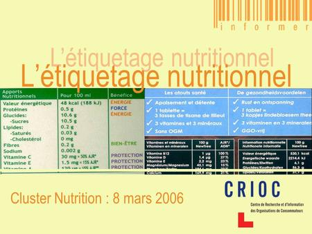 L'étiquetage nutritionnel