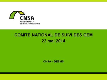 COMITE NATIONAL DE SUIVI DES GEM 22 mai 2014 CNSA – DESMS