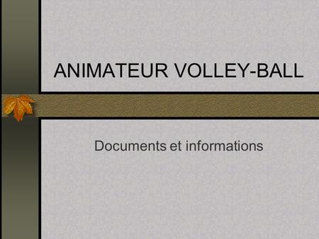 ANIMATEUR VOLLEY-BALL Documents et informations. Pr é sentation Baby-Volley Le Mouvement Sportif Fran ç ais De l ' Animation à l ' Entra î nement L '