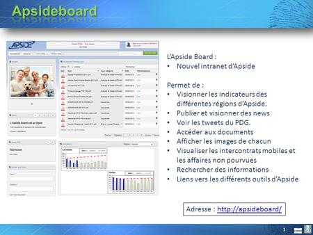 Apsideboard L'Apside Board : Nouvel intranet d'Apside Permet de :