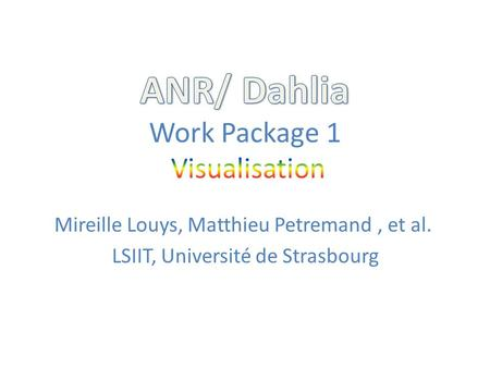 ANR/ Dahlia Work Package 1 Visualisation
