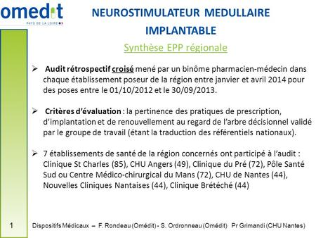 NEUROSTIMULATEUR MEDULLAIRE