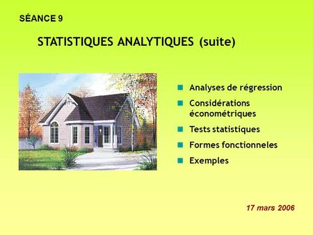 STATISTIQUES ANALYTIQUES (suite)