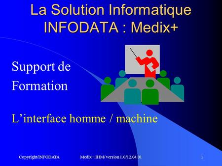 Copyright/INFODATAMedix+.IHM/ version 1.0/12.04.011 Support de Formation L'interface homme / machine La Solution Informatique INFODATA : Medix+