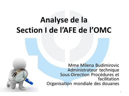 Analyse de la Section I de l'AFE de l'OMC Mme Milena Budimirovic Administrateur technique Sous-Direction Procédures et facilitation Organisation mondiale.