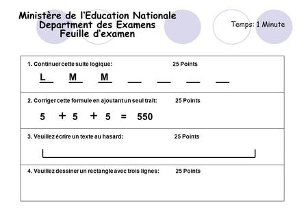 Ministère de l'Education Nationale Department des Examens