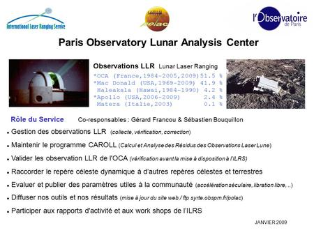 Paris Observatory Lunar Analysis Center Observations LLR Lunar Laser Ranging *OCA (France,1984-2005,2009)51.5 % *Mac Donald (USA,1969-2009) 41.9 % Haleakala.