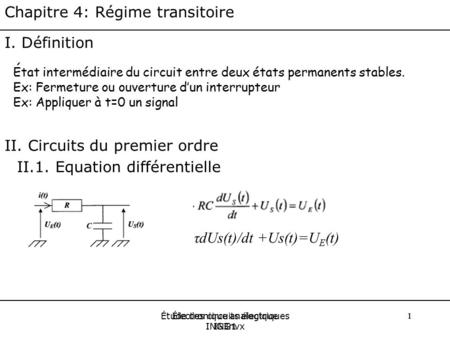 II. Circuits du premier ordre II.1. Equation différentielle
