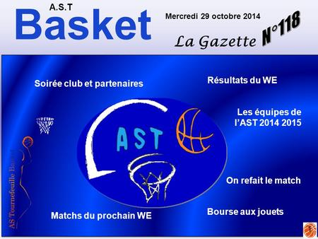 Basket N°118 La Gazette A.S.T Résultats du WE