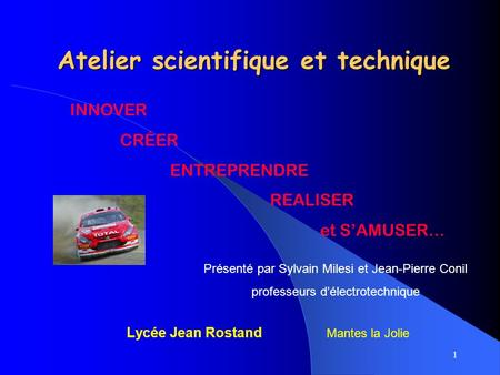 Atelier scientifique et technique