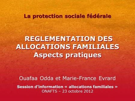 REGLEMENTATION DES ALLOCATIONS FAMILIALES Aspects pratiques Ouafaa Odda et Marie-France Evrard Session d'information « allocations familiales » ONAFTS.