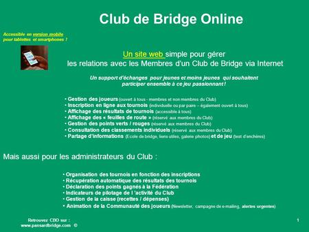 Club de Bridge Online Un site web simple pour gérer