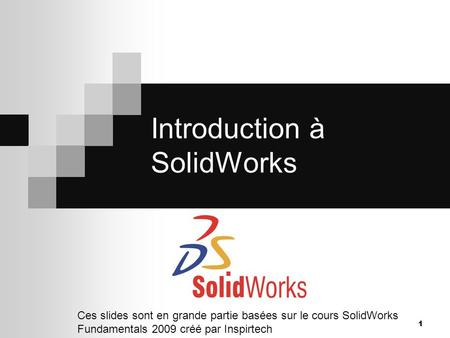 Introduction à SolidWorks