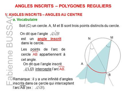 Fabienne BUSSAC ANGLES INSCRITS – POLYGONES REGULIERS
