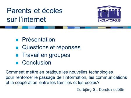 Parents et écoles sur l'internet