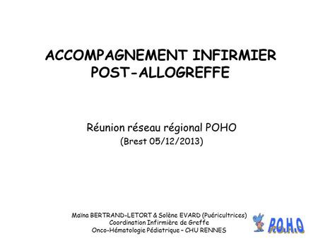 ACCOMPAGNEMENT INFIRMIER POST-ALLOGREFFE