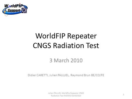 WorldFIP Repeater CNGS Radiation Test