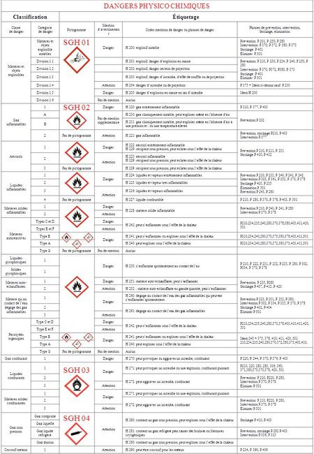 SGH 01 SGH 02 SGH 03 SGH 04 DANGERS PHYSICO CHIMIQUES Classification