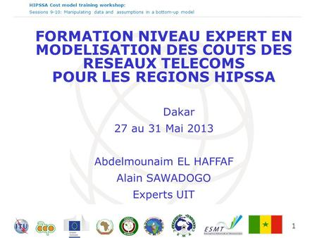 HIPSSA Cost model training workshop: Sessions 9-10: Manipulating data and assumptions in a bottom-up model 1 FORMATION NIVEAU EXPERT EN MODELISATION DES.