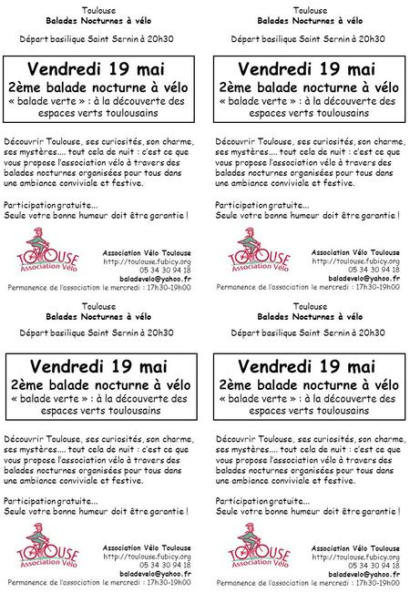 Association Vélo Toulouse  05 34 30 94 18 Permanence de l'association le mercredi : 17h30-19h00 Toulouse.