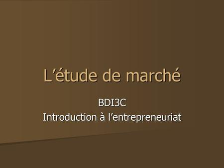BDI3C Introduction à l'entrepreneuriat