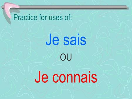 Practice for uses of: Je sais OU Je connais. 1. ____ Paris. Je sais OU Je connais.
