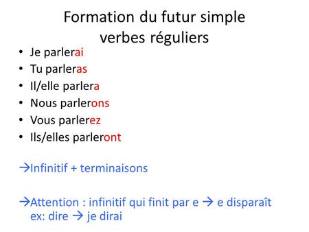 Formation du futur simple verbes réguliers