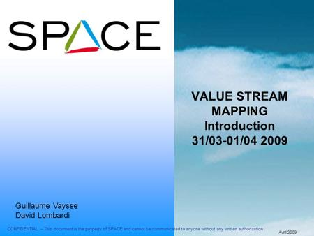 VALUE STREAM MAPPING Introduction 31/03-01/