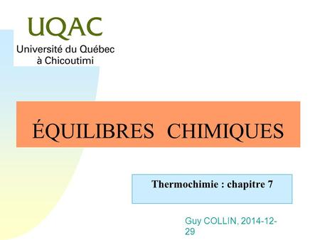 Thermochimie : chapitre 7