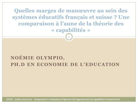Noémie Olympio, Ph.D en Economie de l'Education