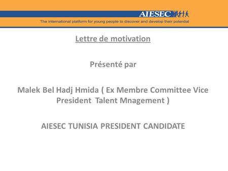 AIESEC TUNISIA PRESIDENT CANDIDATE