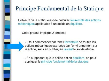 Principe Fondamental de la Statique