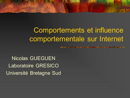 Comportements et influence comportementale sur Internet