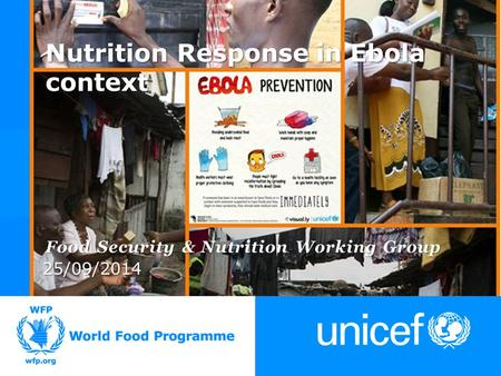 25/09/2014 Food Security & Nutrition Working Group Nutrition Response in Ebola context.