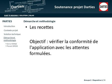Soutenance projet Darties SUJET & BESOINS | SOLUTION | BILAN Introduction Contexte projet Solution technique Démarche et méthodologie Emric FORGE Florent.