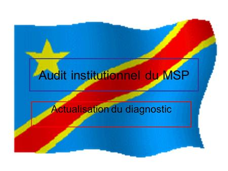Audit institutionnel du MSP Actualisation du diagnostic.