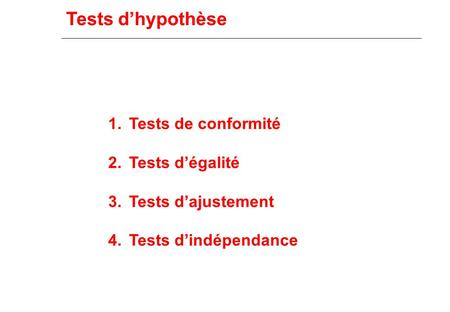 Tests d'hypothèse 1.Tests de conformité 2.Tests d'égalité 3.Tests d'ajustement 4.Tests d'indépendance.