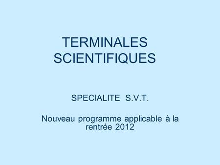 TERMINALES SCIENTIFIQUES
