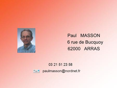 Paul MASSON 6 rue de Bucquoy ARRAS